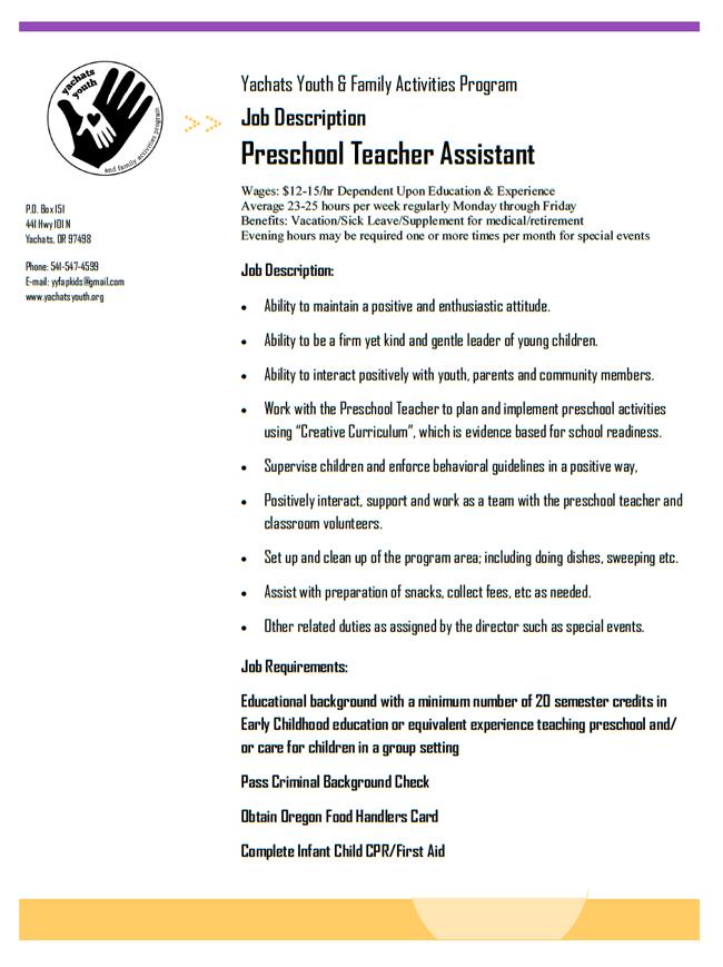 Preschool Teacher Assistant